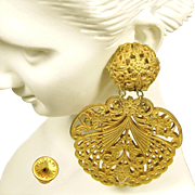 Vintage MIRIAM HASKELL PIERCED Earrings 'Lacey' Filigree Pendants