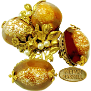 Vintage MIRIAM HASKELL Cowrie Shell Opulent Floral Brooch 'n Earrings