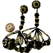 Vintage Long Miriam Haskell Drop Earrings, Glitzy