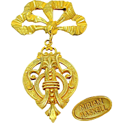 Vintage MIRIAM HASKELL Russian Gilt Medallion Bow Brooch w/ Ornament Drop