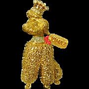 Vintage Royal Crowned JOMAZ Rhinestone Poodle Brooch