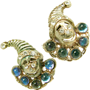 Vintage JACK in the BOX Figural Earrings, w/ Rhinestones c.1930's