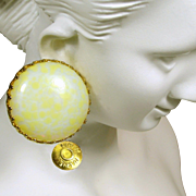 Vintage MIRIAM HASKELL Earrings, Pale Yellow Pate de Verre Glass