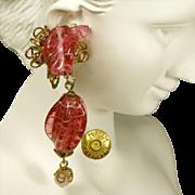 Vintage Miriam Haskell Drop Earrings, Swirling Pink Glass 'n Gilded Brass