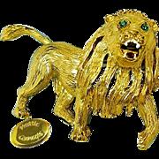 Vintage HATTIE CARNEGIE Gilded Roaring Lion Brooch, Rhinestones