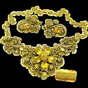 Vintage CORO Necklace 'n Earrings, Curly Ribbon 'n Rhinestone Set