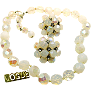 Vintage VOGUE JLRY Opalescent Glass Necklace w/ Rhinestone Accented Earrings c.1950's