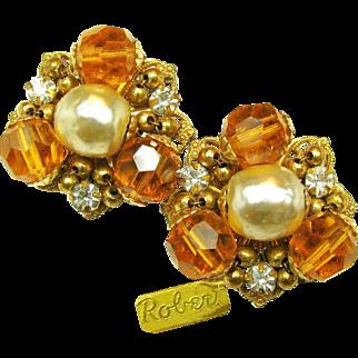 Vintage ROBERT Glass Pearl EARRINGS w/ Rhinestones 'n Glass c.1950's