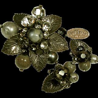 Vintage DeMARIO Brooch 'n Earrings, Art Glass 'n Rhinestones c.1950's