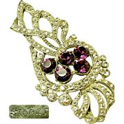 Lg. STARET Bow Brooch Clear White & Purple Rhinestones c.1940