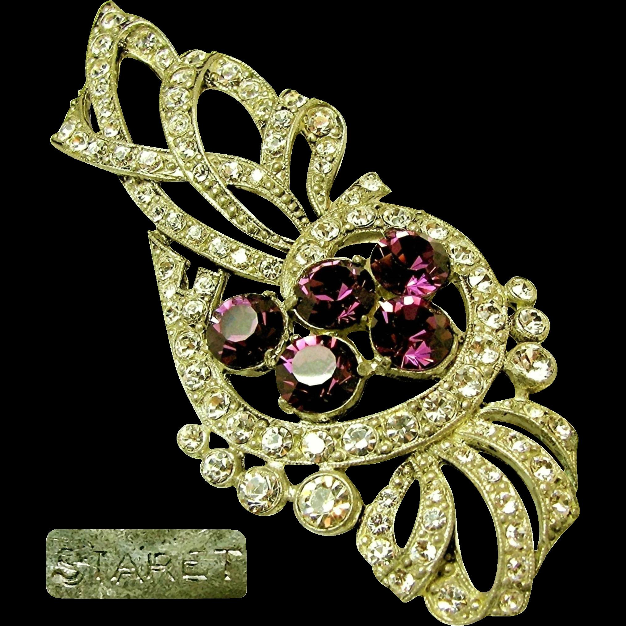 Lg. STARET Bow Brooch Clear White & Purple Rhinestones c.1940