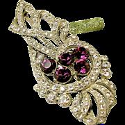 Huge Vintage STARET Brooch, Purple Rhinestones c.1940's