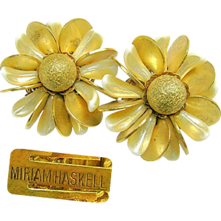 Vintage MIRIAM HASKELL by FRANK HESS Classic Flower Earrings of Pearlized Glass 'n Brass c.Early 1950's