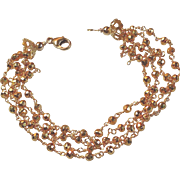Golden Pyrite Four-Strand Gem Bracelet
