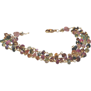 Tourmaline Gem Chain Four Strand Bracelet with 18k Gold Vermeil