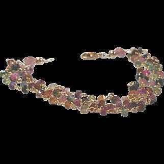 Tourmaline Gem Chain Four Strand Bracelet with 18k Gold Vermeil