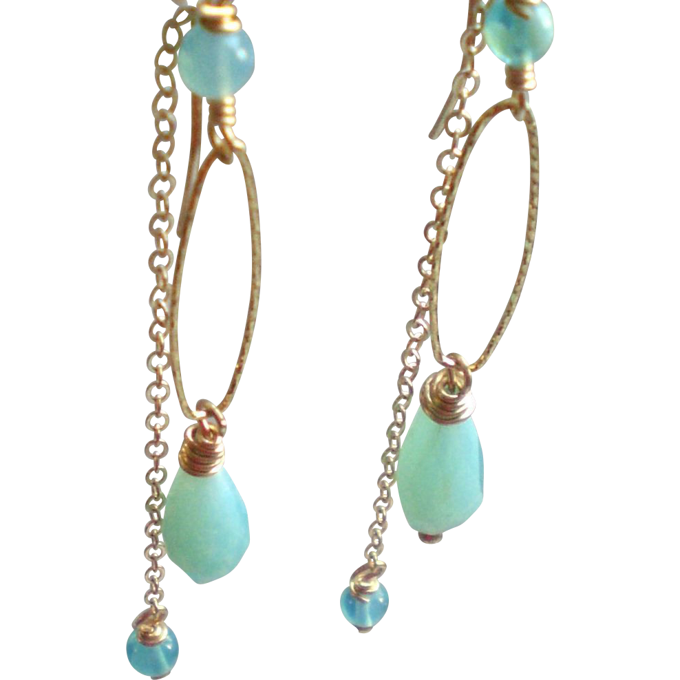 peruvian opal gem earrings with 14k gold fill from