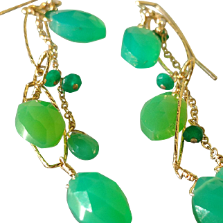 Chrysoprase And Emerald Long Gemstone Earrings