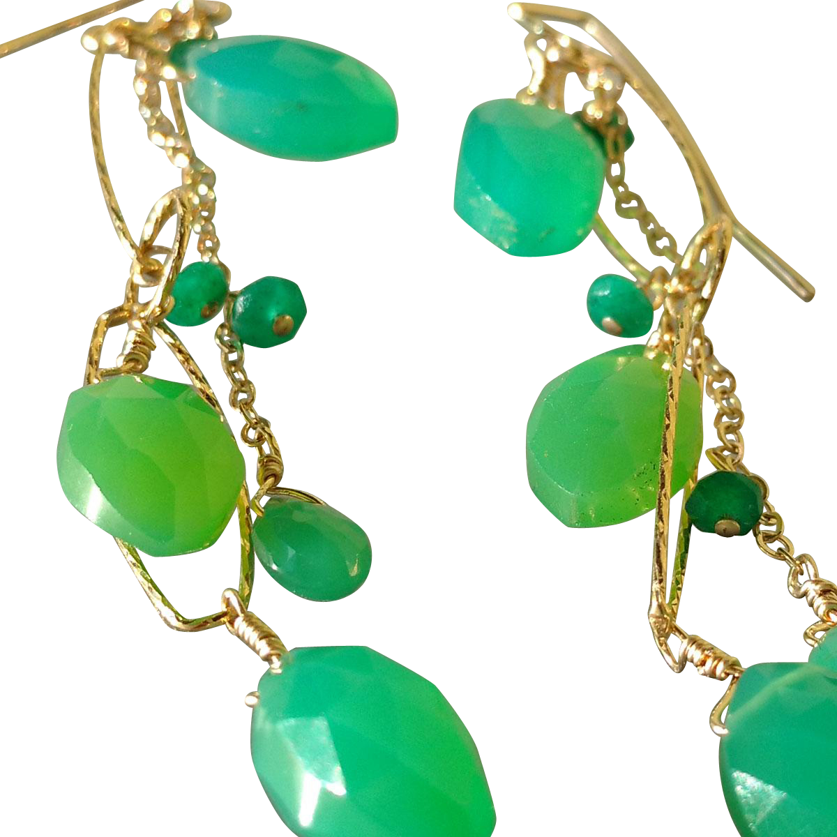 Chrysoprase And Emerald Long Gemstone Earrings From
