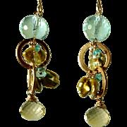 Sun, Sky and Sea: Blue Fluorite, Lemon Quartz and Apatite Gemstone Earrings