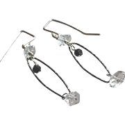 Herkimer Diamond and Black Spinel Gemstone Earrings with Oxidized Sterling Silver