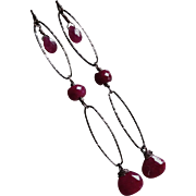 Ruby Gemstone Earrings with Oxidized Sterling Silver