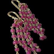 Pink Tourmaline Gem Chain Earrings with 18k Gold Vermeil