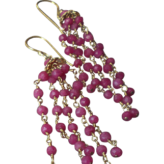 Pink Tourmaline Gem Chain Earrings with 18k Gold Vermeil