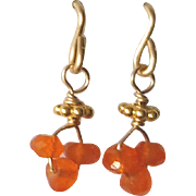 Post Earrings with Orange Carnelian Gems, 14k Gold Fill