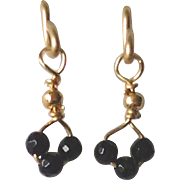 Post Earrings with Black Spinel Gems, 14k Gold Fill