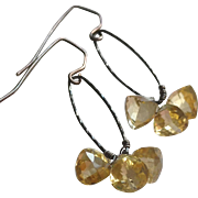 Triple Citrine Jewel Earrings with Oxidized Sterling Silver