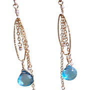 Swiss Blue Topaz Earrings with 14k Gold Fill
