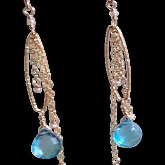 Swiss Blue Topaz Earrings with 14k Gold Fill