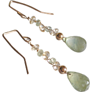 Prehnite and Citrine Earrings with 14k Gold Fill