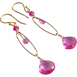 Hot Pink Sapphire Gem Earrings with 18k Gold Vermeil