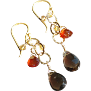 Smoky Quartz, Citrine and Mandarin Garnet Gemstone Earrings