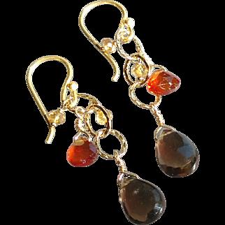 Smoky Quartz, Citrine and Mandarin Garnet Gemstone Earrings