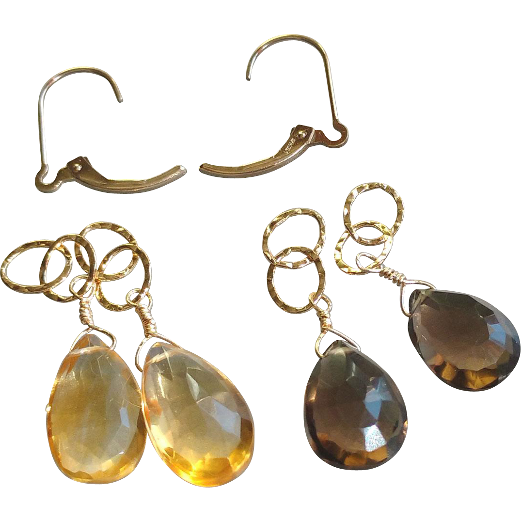 Two Sets of Gemstone Drops with Interchangeable 14k Gold Fill Leverbacks