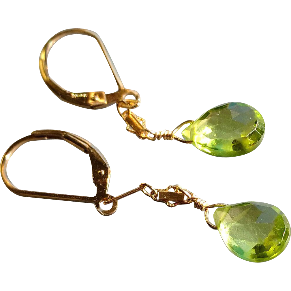 Peridot Gemstone Earrings with 14k Gold Fill