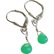 Chrysoprase Gemstone Earrings with Sterling Silver Leverbacks