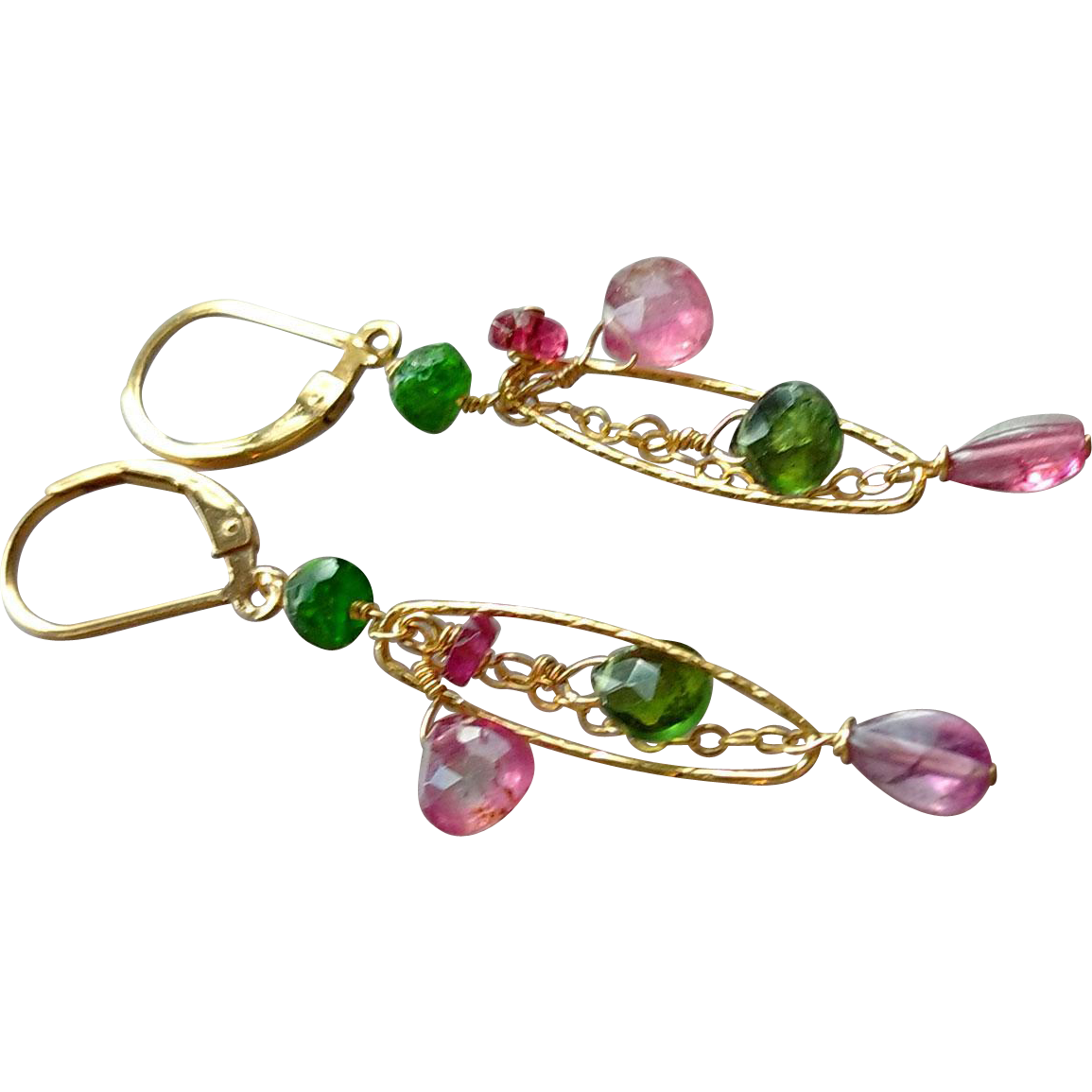 Green and Pink Tourmaline Gem Earrings with 14k Gold Fill