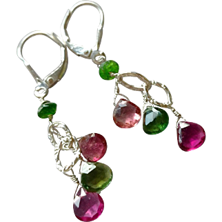 Green and Pink Tourmaline Gem Earrings with Sterling Silver