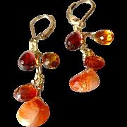 Vivid Sunstone, Mandarin Garnet, Mozambique Garnet, Madeiran Citrine Gem Earrings