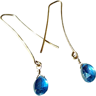 Blue Kyanite Gemstone Earrings with Hammered Sterling Silver