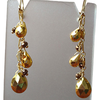 Pyrite Gem Dangle Earrings with 18k Gold Overlay