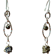 Pyrite Nugget Earrings with Sterling Silver