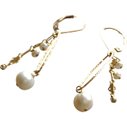 Natural White Freshwater Cultured Pearl Earrings with 14k Gold Fill