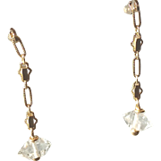 Herkimer Diamond Gemstone Earrings with 14k Gold Fill
