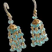 Light Blue Chalcedony Gemstone Chandelier Earrings