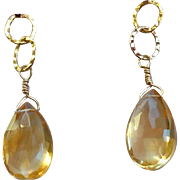 Citrine Gemstone Drop Earrings with 14k Gold Fill